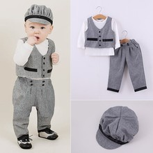Autumn baby clothes wholesale price fashion three-piece sets boys clothing gentleman sets 2015-QZ020