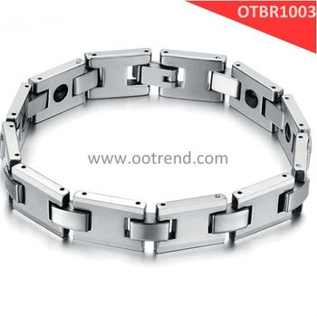 Fashion Natural color Men tungsten bracelet with energy magnetic stone inlaid