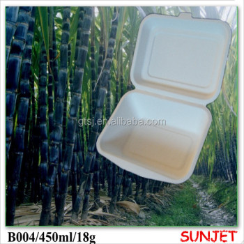 disposable bagasse fast food container