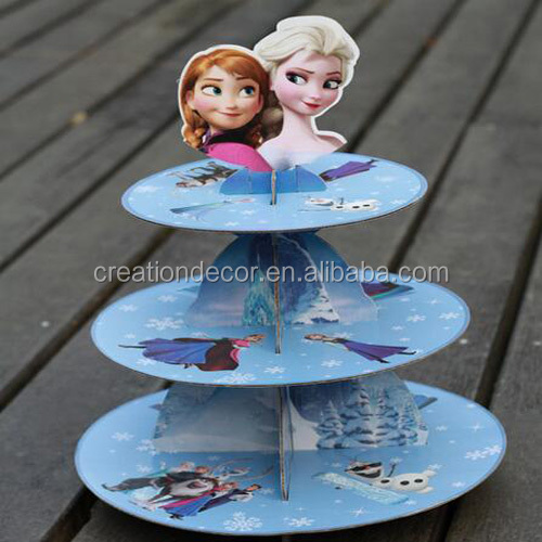 Frozen cardboard 3 tier cupcake display stand for Party