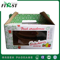HOT!!!!CORRUGATED STRAWBERRY PAPER BOX CUSTOM PRINT FRUIT PACKING CARTON BOX/Custom printed paper strawberry box with handle
