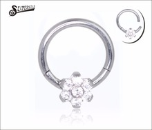 316L Surgical Steel Hinged Segment Ring Clicker Nose Clicker Nose Ring with flower 16G Gauge