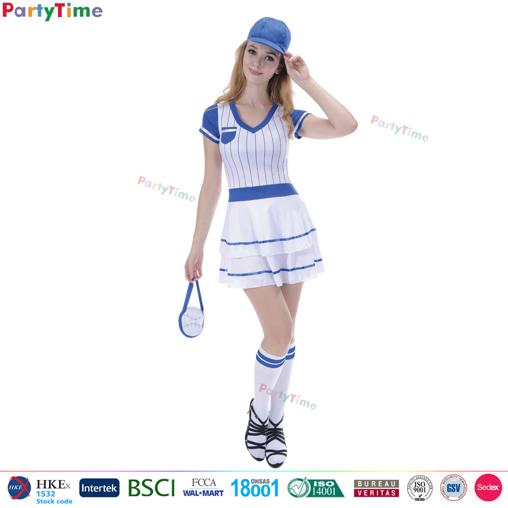 TGT01 wholesale party halloween carnival dress sexy sports girls short sleeve dress baseball costume