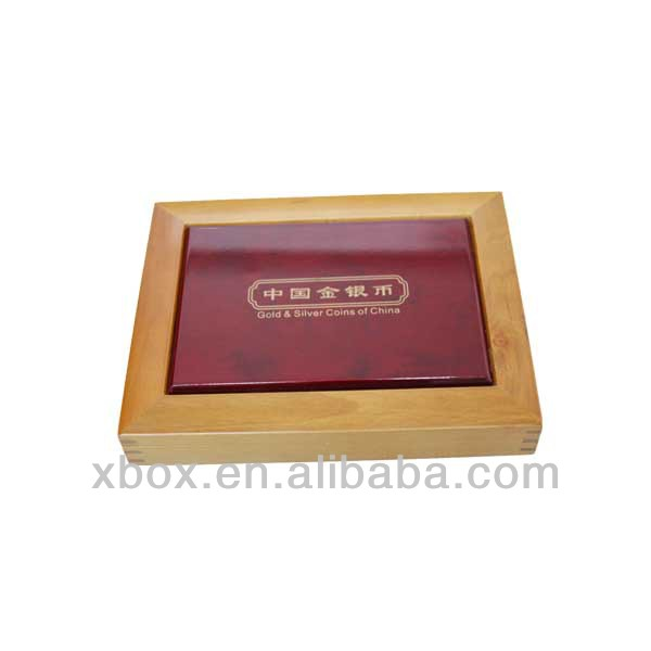 professional manufacturer wooden commemorative coin box