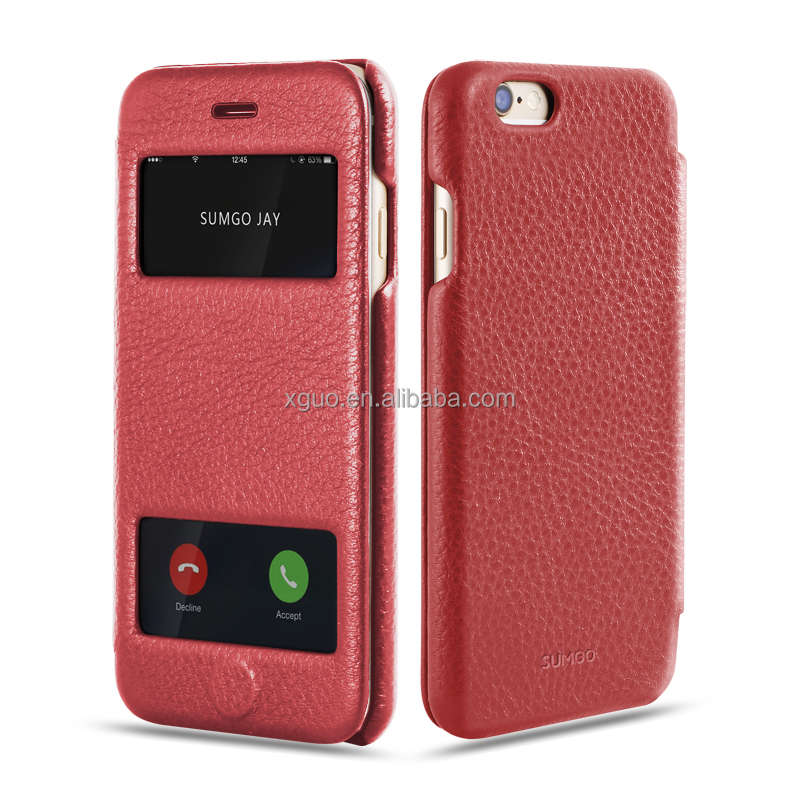 Luxury Double Window Cover Genuine Leather case cover for Iphone 6 6s Plus