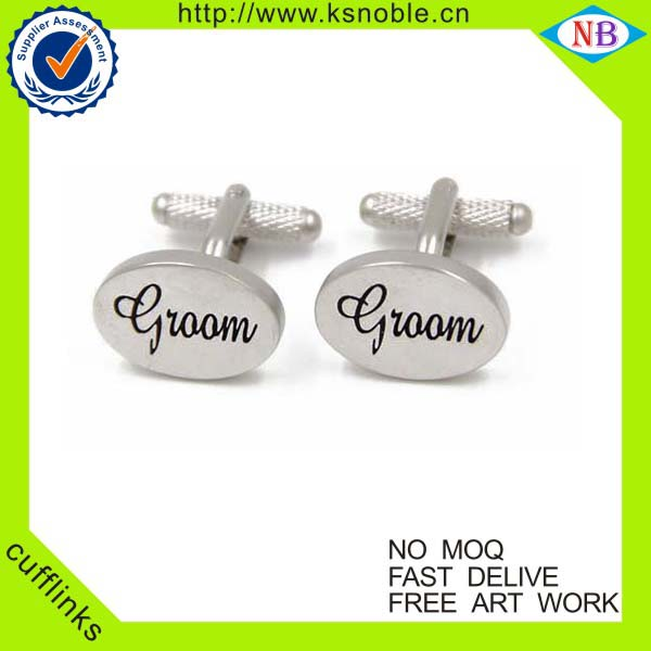 Groom soft enamel cufflink metal brass custom wedding men's cufflink