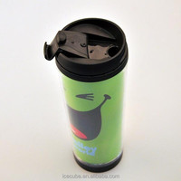 Custom plastic PP coffee mug with lid and sleeve