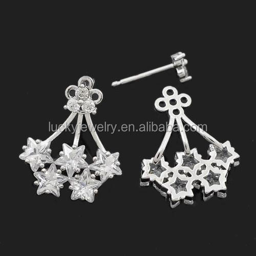 New Arrival Imitation Jewelry Drop Silver Color Stud Earrings with Star Shape for Women Daily Wearing