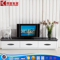 white color modern wooden TV stand with drawers