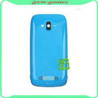 Original blue Housing Battery Door For Nokia Lumia 610 Back Cover +Front Glass Screen Glass