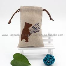 Conference Gift drawing small linen seed pouch/ flower packing bag