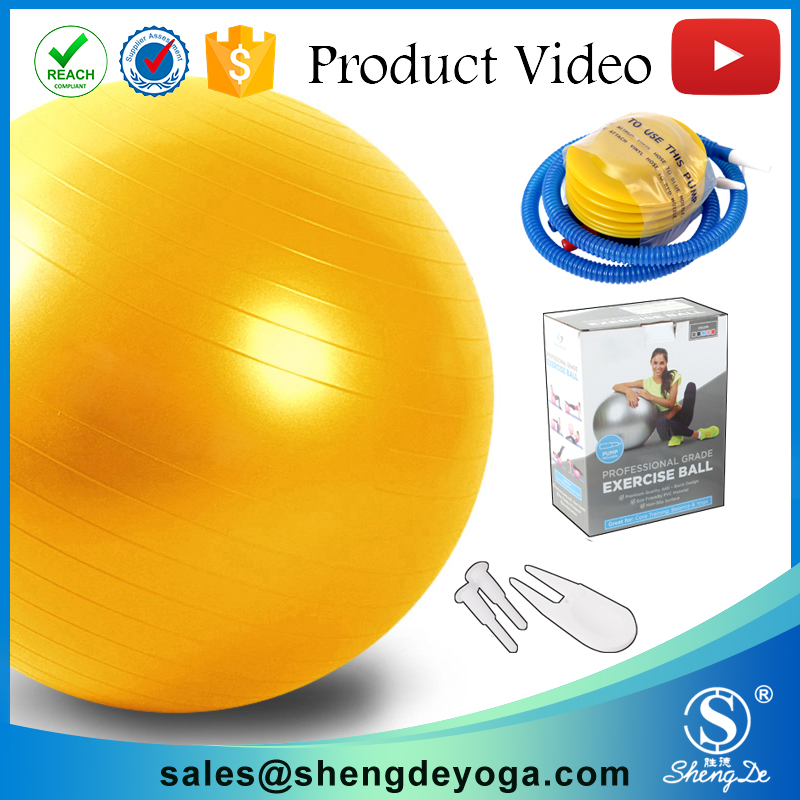 65 cm yoga ball with pump, pvc smooth ball, sand filled medicine ball