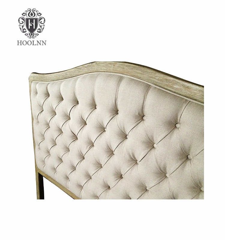 HL004Q-F05 French Provincial Antique Elegant oak Wooden Home Hotel King Queen Size Bed Tufted Headboards