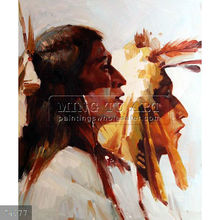 Handpainted indian tribal painting on canvas, Portrait of Two Native Americans