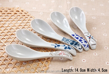 SP1534 Haonai Goodlooking flower decal ceramic spoon, ceramic soup spoon
