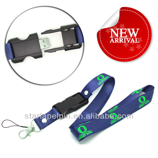 sublimation printed logo company portable custom flash drive usb lanyard breakaway clip