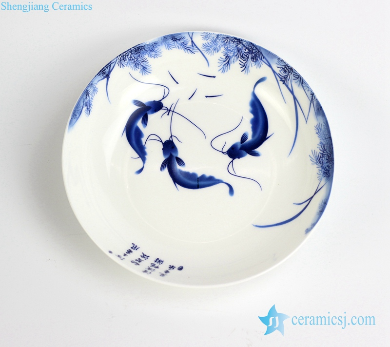 RZHY03-B Fish pattern round ceramic dinner plate JDZ