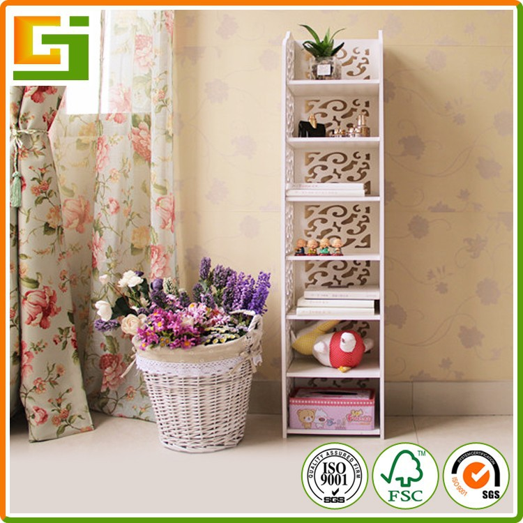 GJ-BLK12030-01 Cheap baroque style fashion 7 Layers white plastic storage bookcase