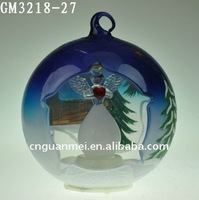 LED christmas color painting ball decoration with angel inside/glass hanging ball
