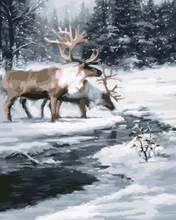GX8380-40*50 world famous oil painting of winter deer picture design with inner wood frame ready to hang