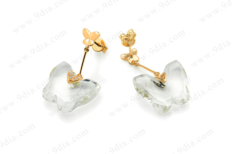 New style butterfly shape golden earring designs for women white crystal earring