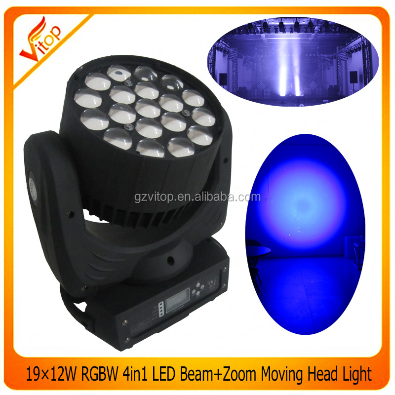 19x12w RGBW Moving LED Stage Light,Beam +Wash +Zoom high quality in guangzhou party club dj light