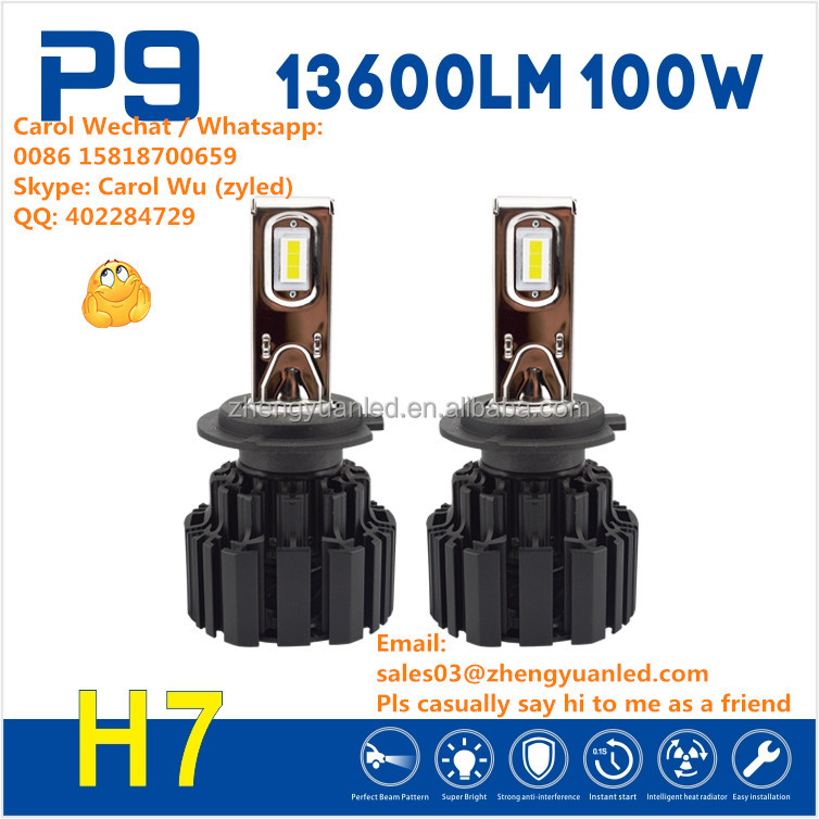 Pursuit 100% TOP 1 Bright 100W 13600lm h4 p9 led headlight h7 bulb h1 pk zhongshan s2 150W halogen led replacement l6 y22 7s S8