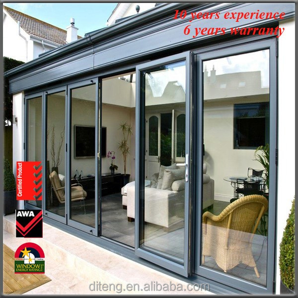 Australian standard aluminum multi track exterior glass panel stacker door/sliding door