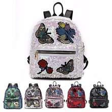 Custom Fashion Cute Mini Girl PU Leather Backpack, Shining Ladies Glitter Sequin Backpack Bag With Embroidered Butterfly