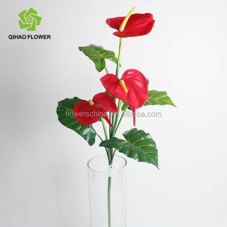 2015 hot sale red anthurium flower artificial plant for home decoration
