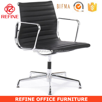 black ribbed office executive leather desk chair without wheels ea108 RF-S072G