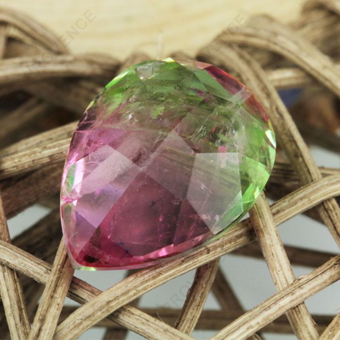 Factory price of Pink Green Imitation natural pear tourmaline loose gemstone for Jewelry