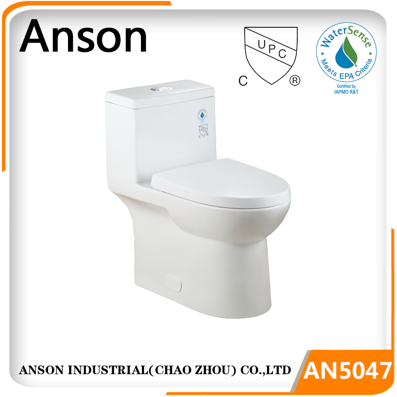 Bathroom Sanitary ware bathroom Siphonic action cUPC and Watersense High efficiency one piece modern toilet