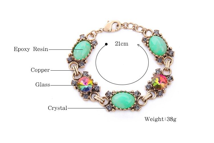 2017 Hot New Products Green Rhinestone Rainbow Light Crystal Ladies Fashion Bracelet
