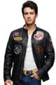 Top Nice Men Classic Black Biker Leather Jacket
