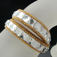 Hot selling direct manufacturers Popular Leather crystal Bracelet for ladies BCR-020-3