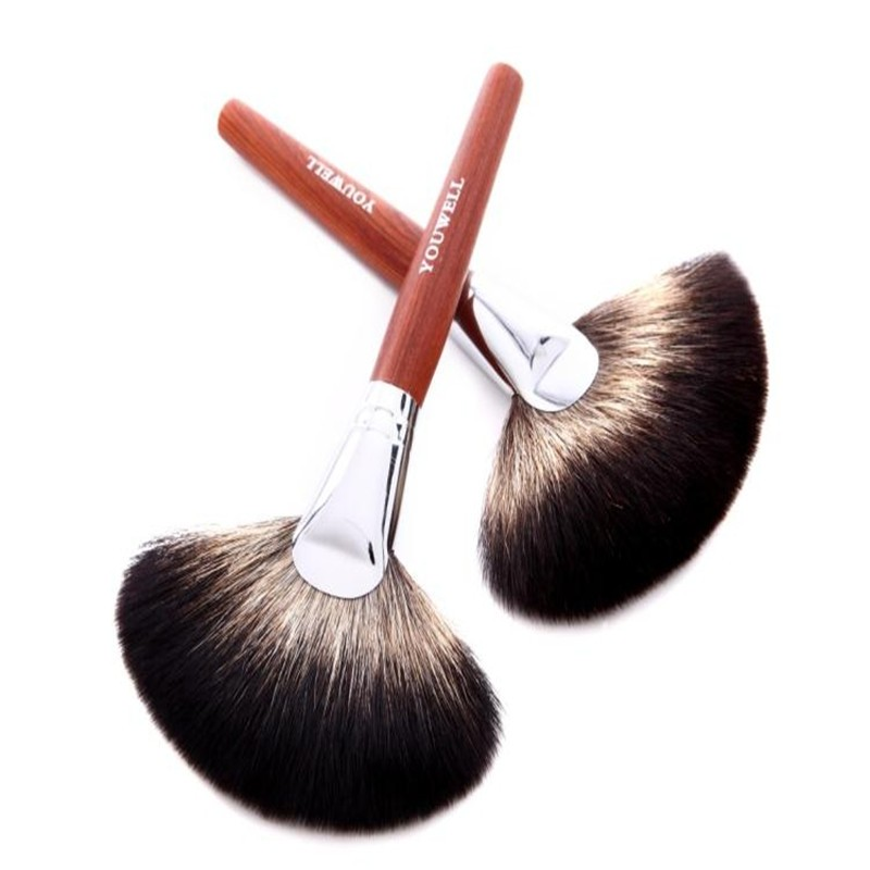 top mink hair single fan brush maquiagem private label 1pcs powder brush cosmetics makeup
