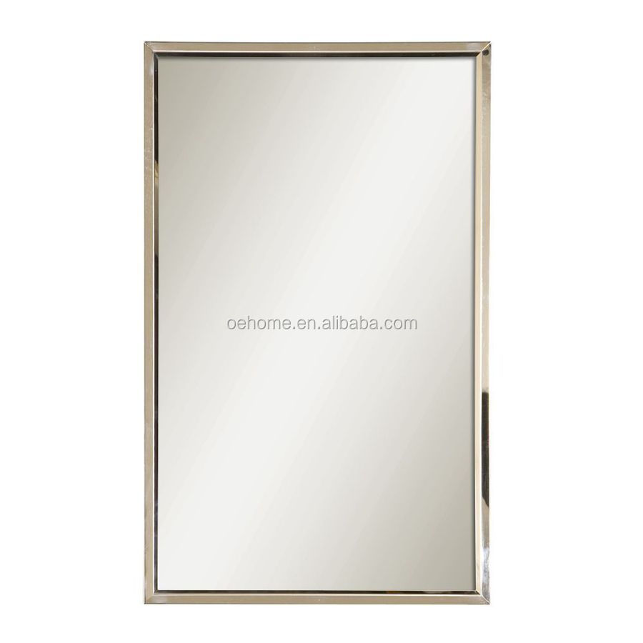 Polished Stainless Steel Rectangle Framed Wall Mirror