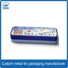 Custom printed fancy tin pencil case for teenagers, kids pencil tin box/case