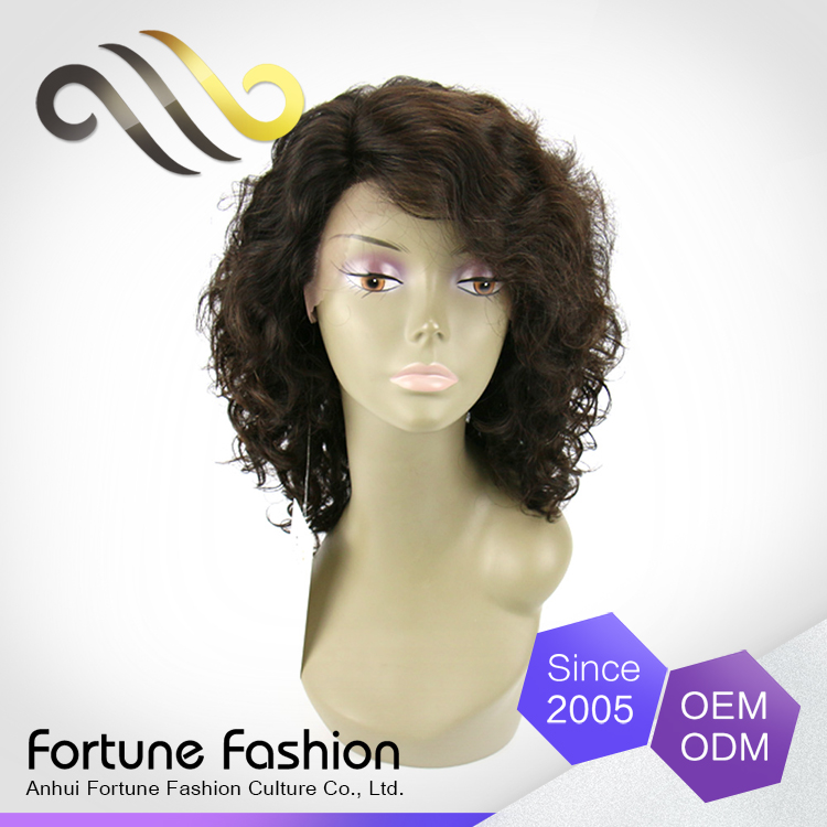 iBeauty wholesale full machine made real Indian human hair afro kinky curly grey lace front wig