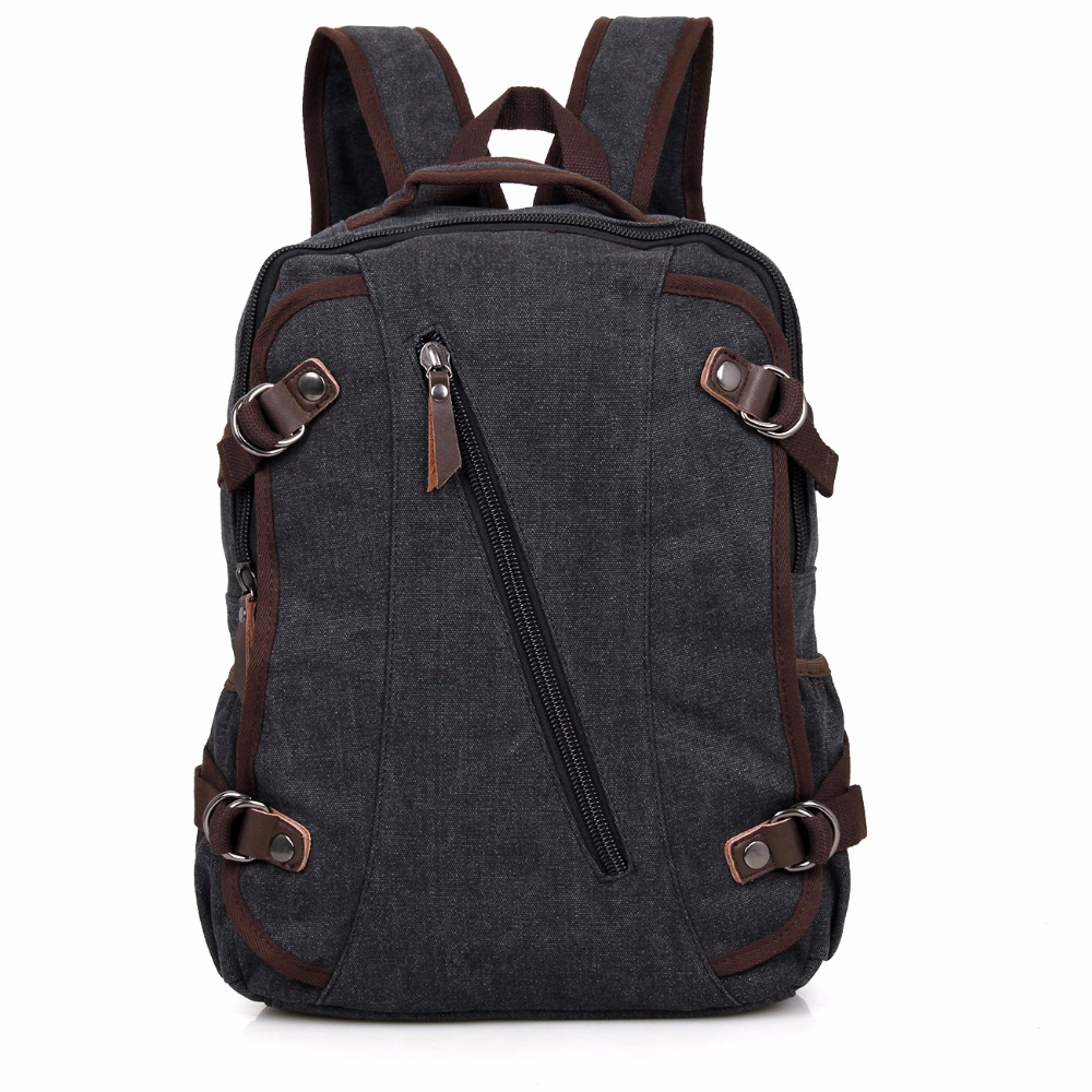 9037A JMD Black Excellent Quality Canvas Rucksack <strong>Backpack</strong> for Young School Bag