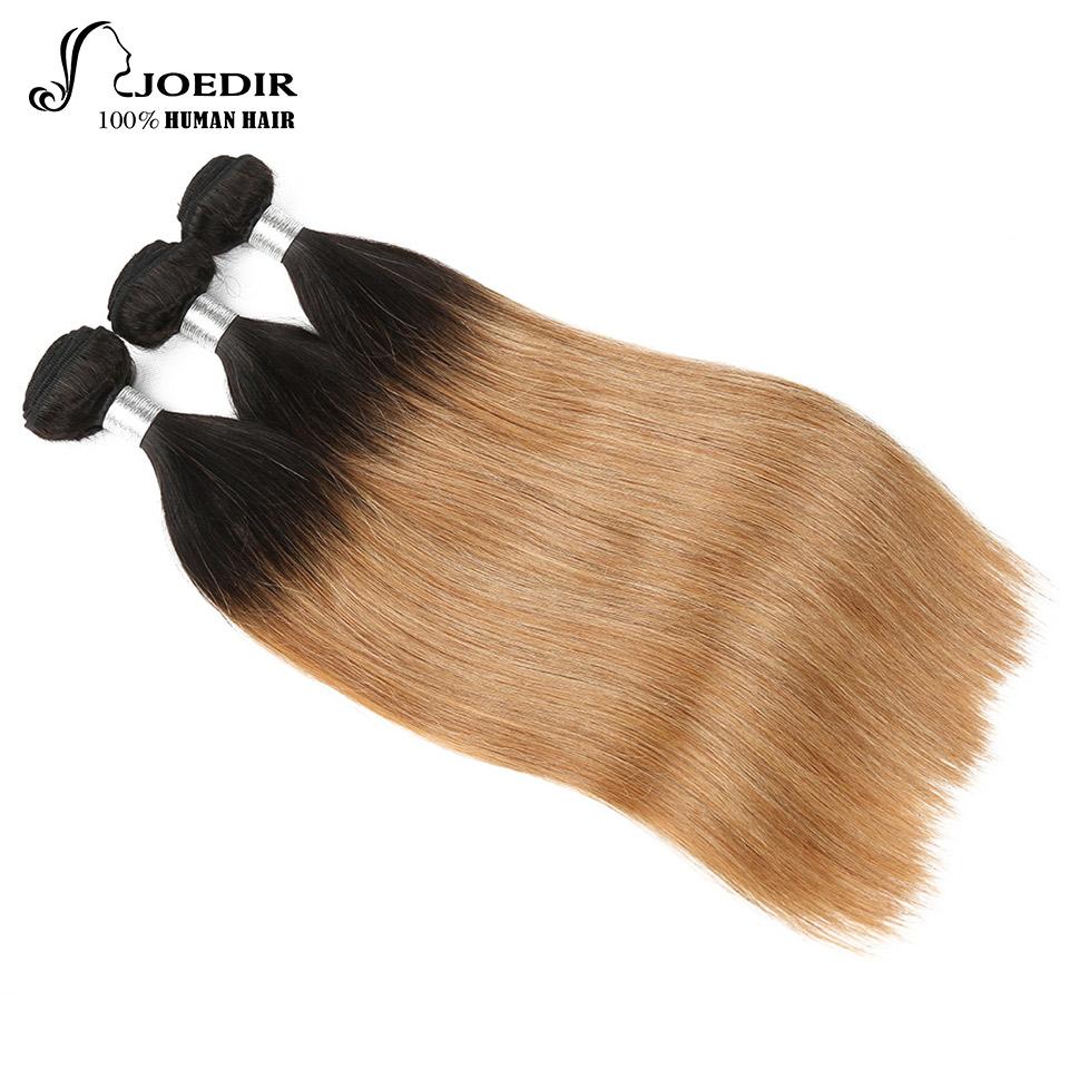 Joedir Pre Colored 3 Bundles Ombre Malaysian Straight Hair Blonde