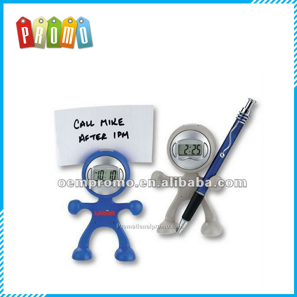 Alarm Clock with Note Holder, The Flex Man Digital Clock, Promotional Desk Clocks
