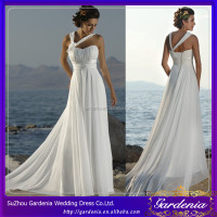 2014 Hot Sale White Sheath A-line Sweetheart Strapless Open Back Floor Length Chiffon Empire Bridal Gown (WD-038)