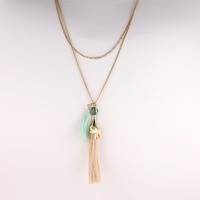new arrival bohemian 2 layers long tassel green lucky turquoise stone elephant pendant yiwu fashion jewelry necklace