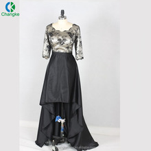 2018 Suzhou Wholesale Long Black Satin Plus Size Prom Dresses lace Evening Dress For Fat Women