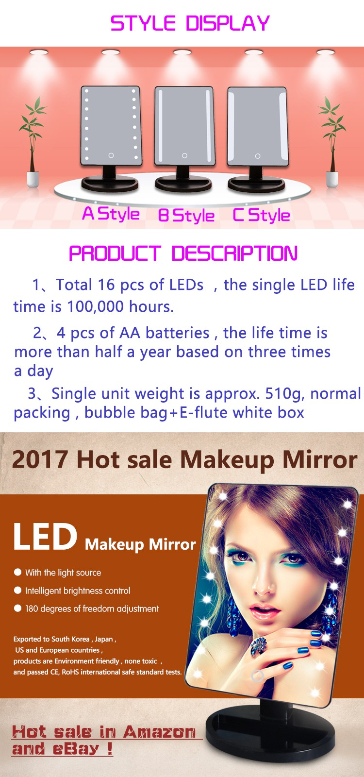 Fashionable Rectangular Touch Sensing 16 LED Lighted Makeup Light Mirror