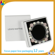 white jewelry paper cardboard base and lid box with square
