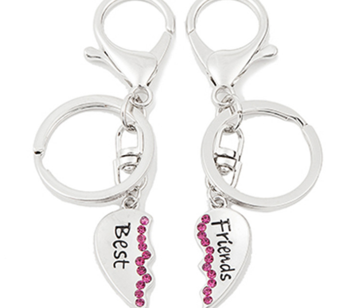 KY37-017 silver multi functions heart chaped pink crystal best friends keyrings for handbang and car etc.
