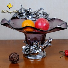 decoration glass fruit plate fruit bowl with resin flower base good quality decoration plate